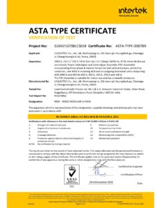 Asta type test certificate L S Electric Load controls