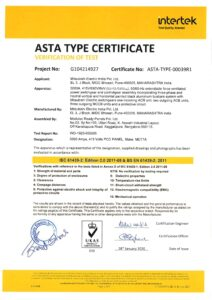 Asta type test certificate mitsubishi Load controls