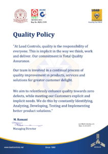 Quality policy 9001-2015 Load Controls Pvt Ltd